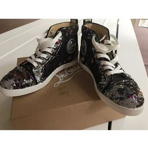 Louboutin Womens High Top Multi Sequin Sneakers